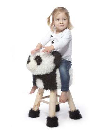 """Rankų darbo nerta kėdutė """"Panda"""" - interjero detalė vaikų kambariui, aksesuaras fotostudijoms, žaidimų kambariams"""