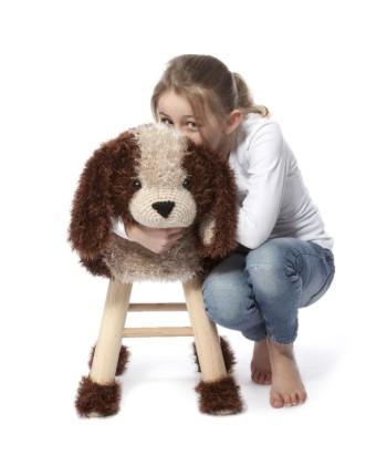 """Rankų darbo nerta kėdutė """"Šuo"""" - interjero detalė vaikų kambariui, aksesuaras fotostudijoms, žaidimų kambariams"""