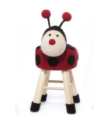 """Rankų darbo nerta kėdutė """"Boružė"""" - interjero detalė vaikų kambariui, aksesuaras fotostudijoms, žaidimų kambariams"""