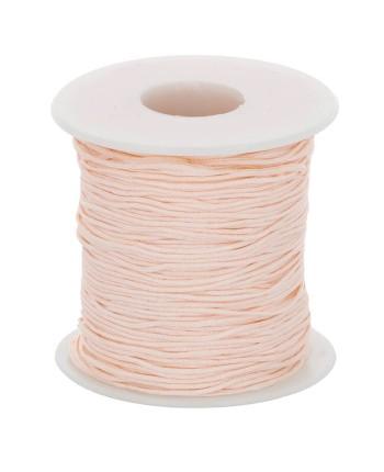 Persikinė, blizgi 1 mm virvelė aksesuarų gamybai, vėrimui - virvutė kramtukams, čiulptukų laikikliams suverti